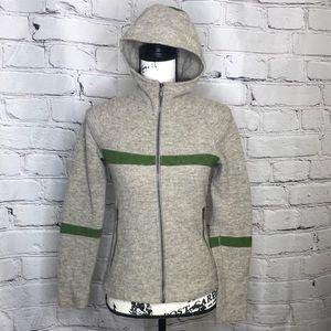 Ibex Merino Wool Hooded Zip-Up Sweater Jacket - gray/green - XS